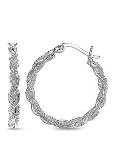 Belk Silverworks Silver-Tone Braided Rope Hoop Earrings
