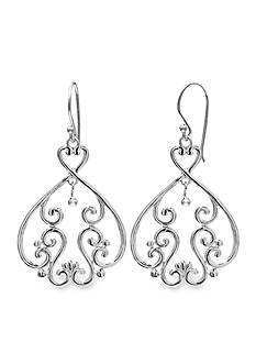 Belk Silverworks Polished Swirling Pattern Drop Earring