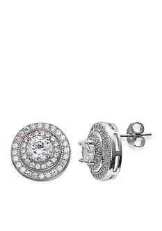 Belk Silverworks Fine Silver Plated Double Row Round Halo Stud Earring