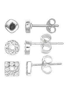 Belk Silverworks Fine Silver Plated Trio Set of Stud Earrings