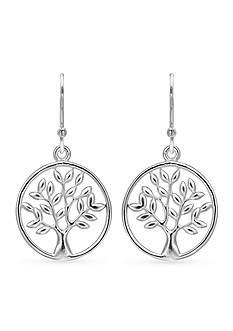 Belk Silverworks Fine Silver Plated Polished Tree Drop Earrings
