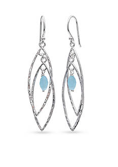 Belk Silverworks Fine Silver Plate Aqua Double Marquis Drop Earrings