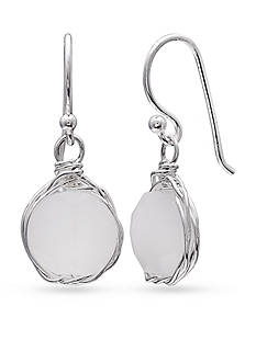 Belk Silverworks Fine Silver Plate Round White Quartz Drop Earrings
