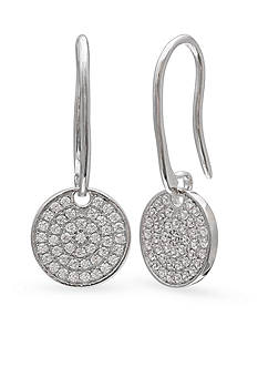 Belk Silverworks Fine Silver Plated Cubic Zirconia Drop Disc Earrings