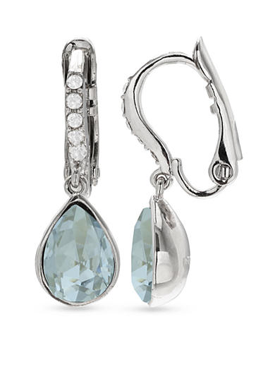 Belk Silverworks Silver-Tone Pear Aqua Clip Earrings