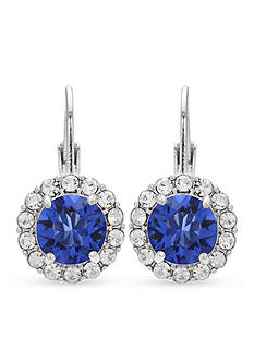 Belk Silverworks Fine Silver Plated Sapphire Swarovski Crystal Drop Earrings