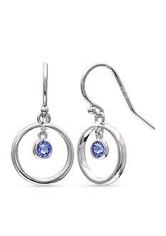 Belk Silverworks Fine Silver-Plated Sapphire Crysal Drop Earrings