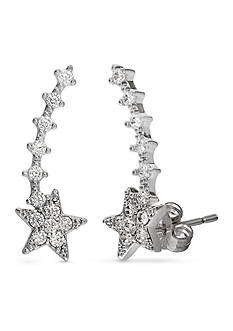 Belk Silverworks Fine Silver Plated Pave Cz Star Crawler Earrings