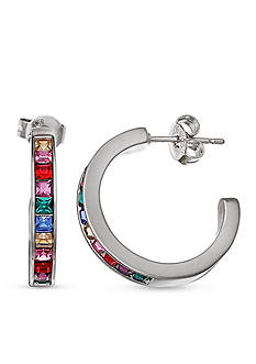 Belk Silverworks Multi-Tone C-Hoop Earrings