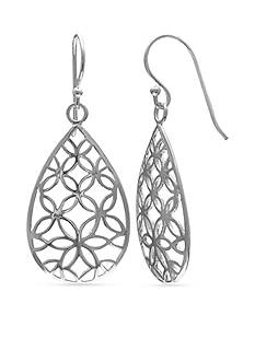 Belk Silverworks Fine Silver Plated Polished Flower Filigree Teardrop Earrings