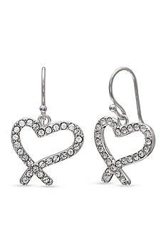 Belk Silverworks Silver-Tone Drop Heart Earrings