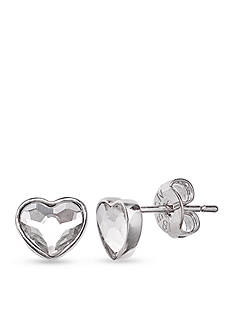 Belk Silverworks Fine Silver Plate Clear Heart Crystal Stud Earrings