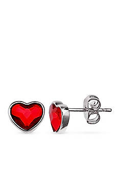 Belk Silverworks Fine Silver Plate Red Heart Stud Earrings