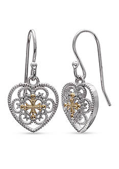 Belk Silverworks Fine Silver Plate Two Tone Filigree Heart Drop Earrings
