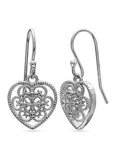 Belk Silverworks Fine Silver Plate Filigree Heart Drop Earrings