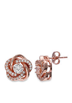 Belk Silverworks 24K Rose Gold Plated Cubic Zirconia Flower Lover Knot Stud Earrings