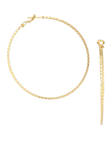 Belk Silverworks 24kt Gold Over Fine Silver-Plated 30-mm. Round Twisted Diamond Cut Hoop Earrings