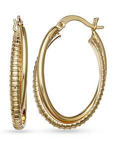 Belk Silverworks Gold-Tone Double Oval Hoop Crossover Earrings