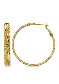Belk Silverworks 24k Gold Over Fine Silver-Plated 40-mm. Triple Row Hoop Earrings