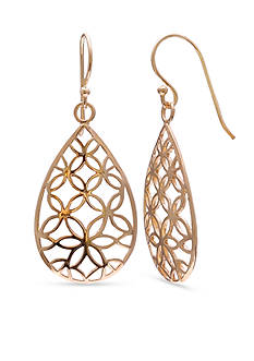 Belk Silverworks 24k Gold Over Simply Sterling Plated Flower Filigree Teardrop Earrings
