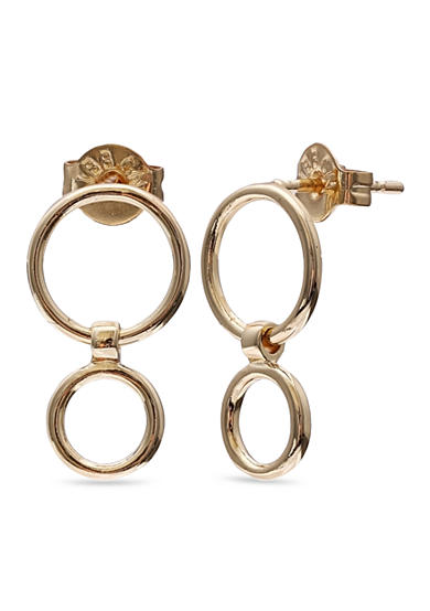 Belk Silverworks 24k Gold Over Simply Sterling Plated Polished Double Ring Drop Earrings