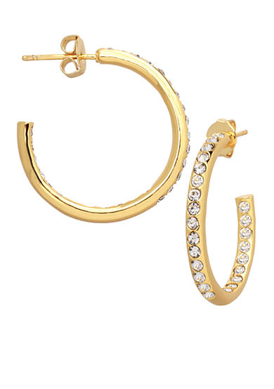 Belk Silverworks 24kt Gold Over Fine Silver-Plated 30-mm. Round Crystal C Hoop Earrings