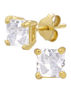 Belk Silverworks 24KT Gold Over Sterling Silver 5mm Princess Cubic Zirconia Stud Earrings