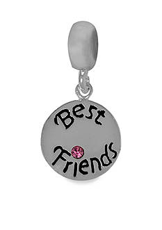 Belk Silverworks Drop Best Friends Circle Pink Crystal Charm