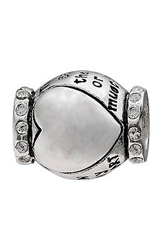 Belk Silverworks Oxidized Crystal Heart Inspirational Originality Bead
