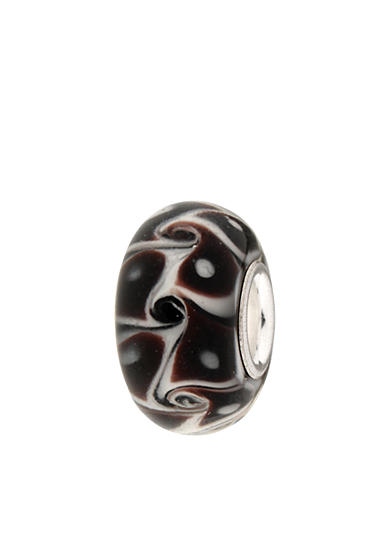 Belk Silverworks Black and White Swirl Pattern Glass Originality Bead