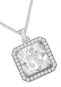 Belk Silverworks Everloved Fine Silver-Plated Micro-Pave' Princess Cut Cubic Zirconia Pendant