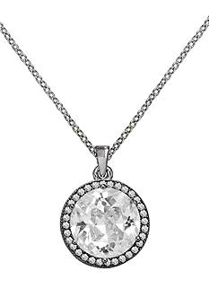Belk Silverworks Everloved Fine Silver-Plated Micro-Pave' Round Cubic Zirconia Pendant Necklace
