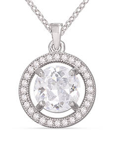 Belk Silverworks Round Cubic Zirconia Halo Pendant Necklace
