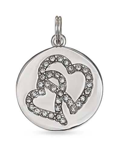 Belk Silverworks Silver-Tone Round Disc Double Heart Crystal Charm