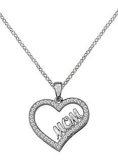 Belk Silverworks Fine Silver Plated Mom Heart Pendant