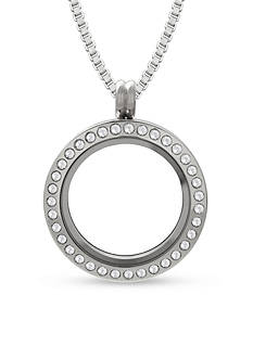 Belk Silverworks Stainless Steel Round Charming Lockets Crystal Locket Necklace