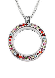 Belk Silverworks Charming Lockets Bright Crystal Round Locket Necklace