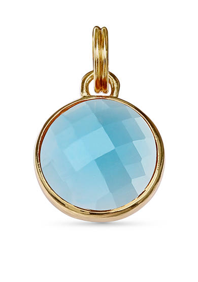Belk Silverworks Gold Plated Blue Zircon Glass Disc Charm