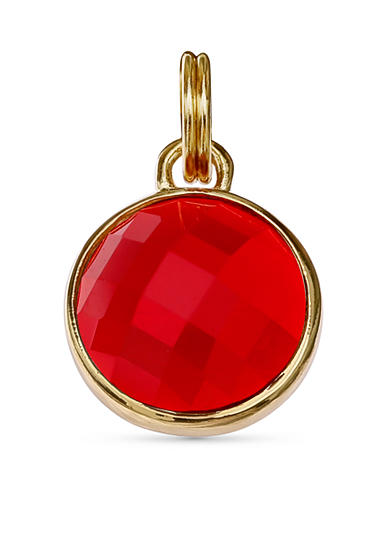 Belk Silverworks Gold Plated Garnet Glass Charm