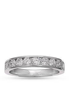 Belk Silverworks Sterling Silver Half Channel Setting Round Cubic Zirconia Ring