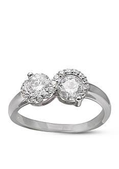 Belk Silverworks Forever Together Swarovski Zirconia Infinity Ring in Sterling Silver