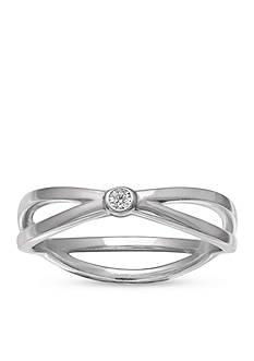 Belk Silverworks Sterling Silver Polished Crossover Ring
