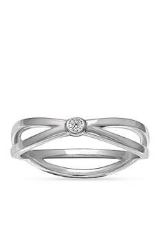 Belk Silverworks Sterling Silver Polished Cubic Zirconia Bezel Center Crossover Ring
