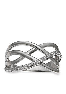 Belk Silverworks Sterling Silver Pave Cz Crossover Band