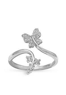 Belk Silverworks Sterling Silver Pave Cubic Zirconia Butterfly Vine Ring - Size 8