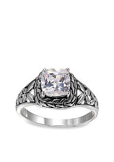 Belk Silverworks Fine Silver Plated Filigree Princess Cut Ring