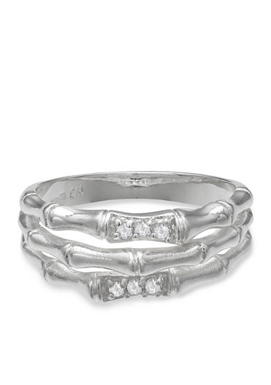 Belk Silverworks Fine Silver-Plated Cubic Zirconia Bamboo Ring
