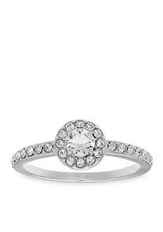 Belk Silverworks Fine Silver Plated Round Swarovski Crystal Ring