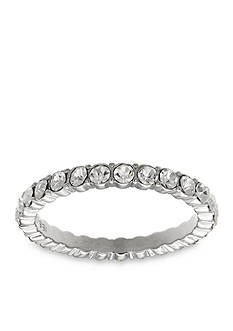 Belk Silverworks Fine Silver Plated Swarovski Crystal Band Ring