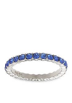 Belk Silverworks Fine Silver Plated Sapphire Swarovski Crystal Band Ring
